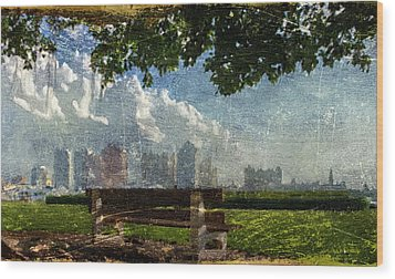 Wood Print featuring the digital art Citybench by Andrea Barbieri