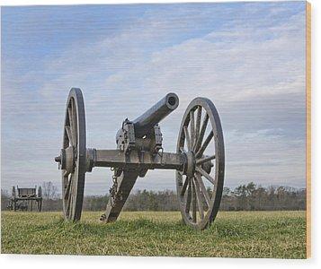 Civil War Cannon At Manassas National Battlefield Park - Virginia Wood Print by Brendan Reals