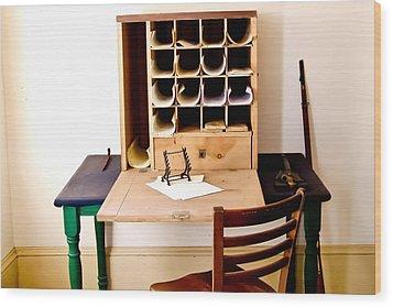 Civil War Desk Wood Print by Trish Tritz