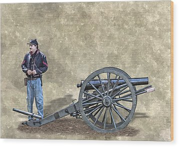 Civil War Union Artillery Corporal With Cannon Wood Print by Randy Steele