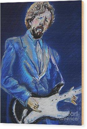 Clapton Jams Blue Wood Print by Emily Michaud