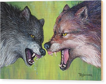 Clash Of The Alphas Wood Print by Tanja Ware
