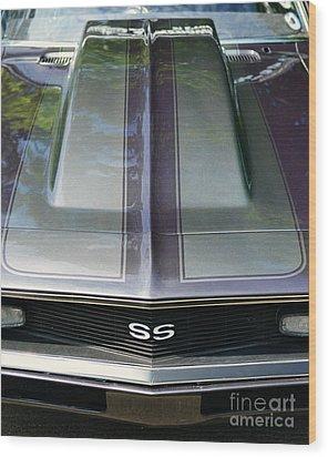 Classic Camaro Ss Hood Cowl Wood Print by Paul Ward