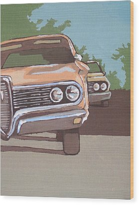 Classic Cars Wood Print by Sandy Tracey