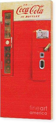 Classic Coke Dispenser Machine . Type 2 . Long Cut Wood Print by Wingsdomain Art and Photography