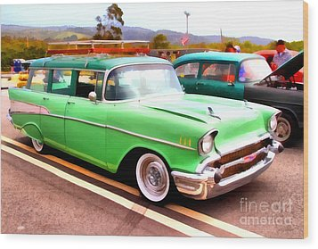 Classic Green Chevrolet Stationwagon . 7d15213 Wood Print by Wingsdomain Art and Photography