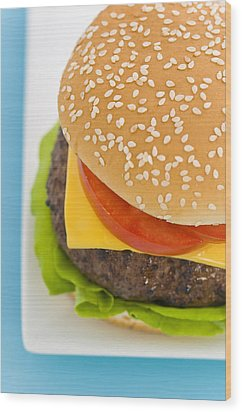 Classic Hamburger With Cheese Tomato And Salad Wood Print by Ulrich Schade