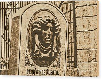 Classic Leota Moving Eyes Headstone Haunted Mansion Magic Kingdom Walt Disney World Prints Rustic Wood Print by Shawn O'Brien
