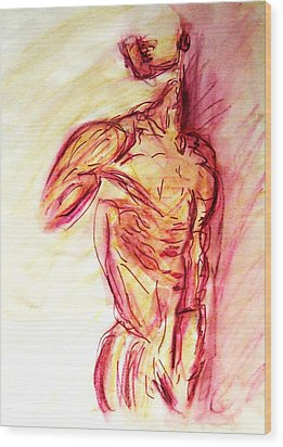 Classic Muscle Male Nude Looking Over Shoulder Sketch In A Sensual Primal Erotic Timeless Master Art Wood Print