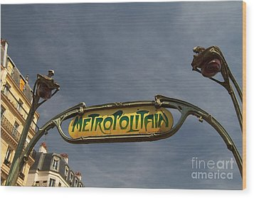 Wood Print featuring the photograph Classic Paris Metro Sign by Kim Wilson