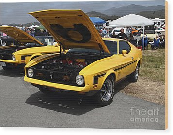 Classic Yellow Ford Mustang Mach 1 7d15277 Wood Print by Wingsdomain Art and Photography