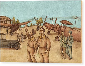 Classical Planes 2 Wood Print by Autogiro Illustration