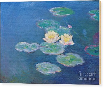 Claude Monet Nympheas 1907 Wood Print by Pg Reproductions