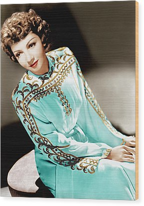 Claudette Colbert, Ca. 1940s Wood Print by Everett