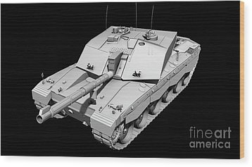 Clay Render Of A Challenger II Tank Wood Print by Rhys Taylor