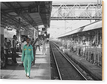 Cleaner At The Train Station Wood Print by Sumit Mehndiratta