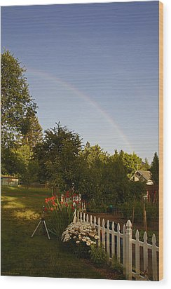 Clear Sky Rainbow Wood Print by Mick Anderson