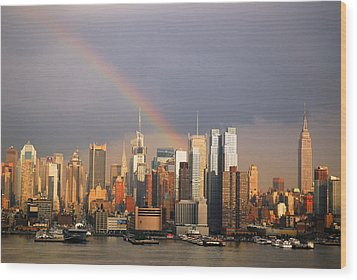 Wood Print featuring the photograph Clearing Skies Over Manhattan by James Kirkikis