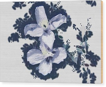 Clematis In Blue Wood Print