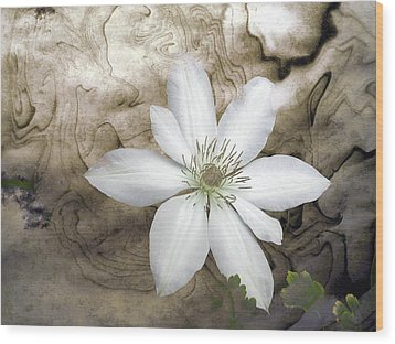 Clematis Wood Print by Richard Ortolano