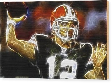 Cleveland Browns Colt Mccoy Wood Print by Paul Van Scott