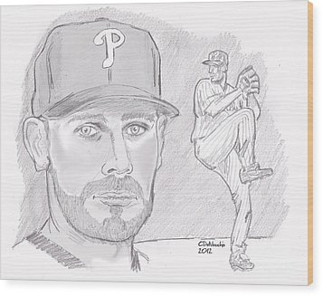 Wood Print featuring the drawing Cliff Lee by Chris  DelVecchio