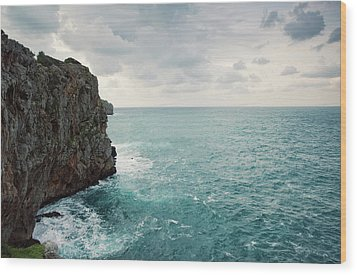Cliff Line And Stormy Mediterranean Sea Wood Print by Guido Mieth