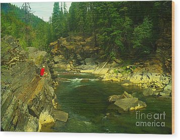 Cliff Over The Yak River Wood Print by Jeff Swan