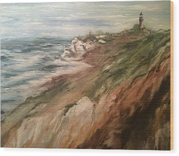 Wood Print featuring the painting Cliff Side - Newport by Karen  Ferrand Carroll