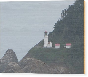 Cliff Side Light House Wood Print