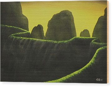 Wood Print featuring the painting Cliffs by Edwin Alverio