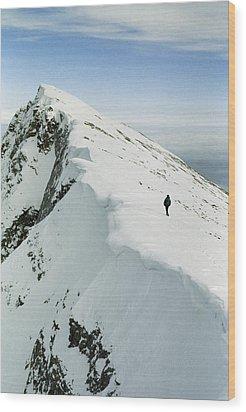 Climber Approaches False Summit Wood Print by Gordon Wiltsie