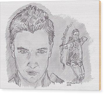 Clint Barton- Hawkeye Wood Print by Chris  DelVecchio