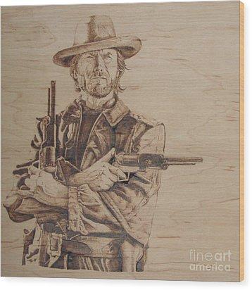 Clint Eastwood Wood Print by Chris Wulff