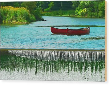 Clinton Canoes Wood Print by Artistic Photos