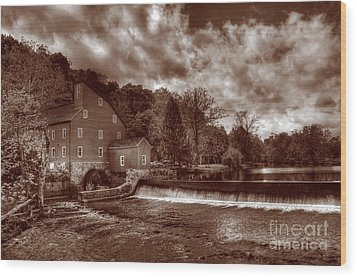 Clinton Red Mill House Sepia Wood Print by Lee Dos Santos