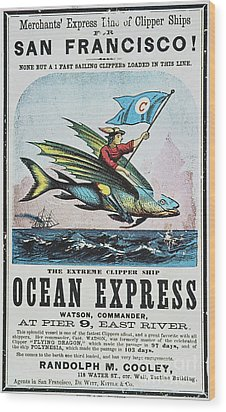 Clipper Ship Card, C1850 Wood Print by Granger