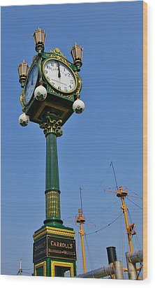 Clock At The Harbor Wood Print by Christine Burdine