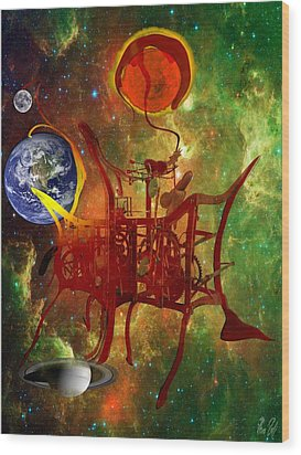 Clock Of Universe Wood Print by Helmut Rottler