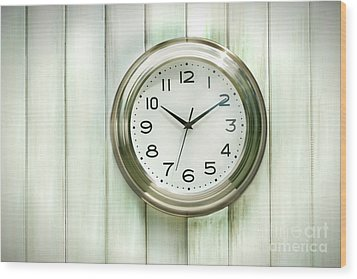 Clock On The Wall Wood Print by Sandra Cunningham