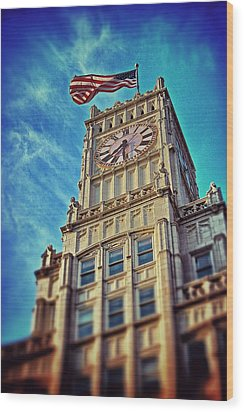 Wood Print featuring the photograph Clock Tower In Downtown Jackson 1 by Jim Albritton