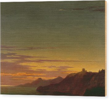 Close Of The Day - Sunset On The Coast Wood Print by Alexander Cozens