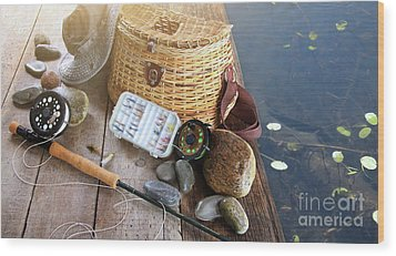 Close-up Of Fishing Equipment And Hat  Wood Print by Sandra Cunningham