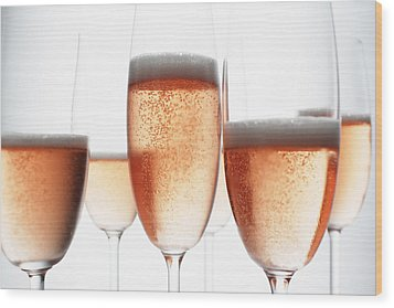 Close Up Of Glasses Of Champagne Wood Print by Brett Stevens