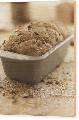 Close Up Of Rustic Bread In Loaf Pan Wood Print by Adam Gault