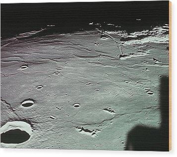 Close-up Of The Craters On The Surface Of The Moon Wood Print by Stockbyte