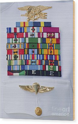 Close-up View Of Military Decorations Wood Print by Michael Wood