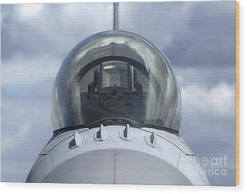 Close-up View Of The Canopy On A F-16a Wood Print by Ramon Van Opdorp