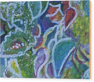 Close View Of One Of My Floral Paintings Wood Print by Anne-Elizabeth Whiteway