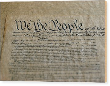 Close View Of The Us Constitution Wood Print by Kenneth Garrett